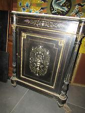 ancien meuble d'appui napoleon III noirci marqueterie nacre 19e bronze buffet