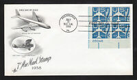 US SCOTT #C51 PLATE BLOCK SILHOUETTE OF JET AIRLINER FDC ART CRAFT 1958
