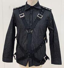 Steampunk Sdl Men's Pinstripe Shirt With Straps & Shoulder Boards M 38/40