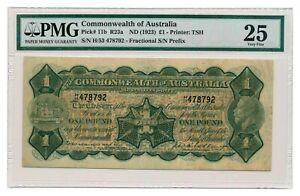 AUSTRALIA banknote 1 Pound 1923 Miller Collins signature PMG VF 25 Very Fine
