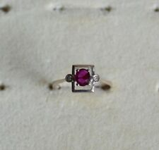 Antique 14ct White Gold Genuine Ruby and Diamond Ring
