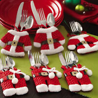 6x Santa Suit Christmas Cutlery holder tableware Silverware bag Decorations YAN