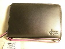 Another Line by Lodis Black Leather Wristlet Wallet w/8 CC Slots NWT $88