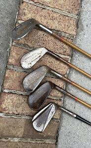 (5) Vintage Wood Shaft Golf Club Spalding Gold Smith Vintage Tournament Models