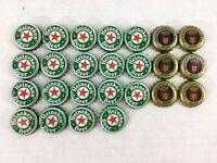 Heineken Modelo Beer Bottle Caps Lot of 25 Green Gold Mexico