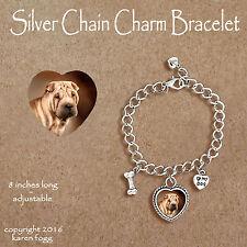 Shar Pei Dog - Charm Bracelet Silver Chain & Heart