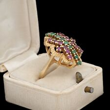 Antique Vintage Art Deco Retro 14k Yellow Gold Ruby Emerald Cocktail Ring S 6.5