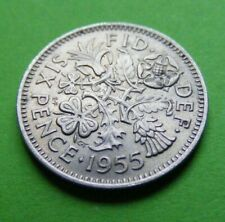 1955 Great Britain Sixpence Coin UK British 6d High Grade Traces Mint Luster