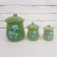 Vintage 1971 HandmadePottery Ceramic Mushroom Canister Set of 3 Green Blue