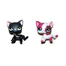 Littlest Pet Shop Sparkle Pink Short Hair & Pink Ears Black Cat Kitty Figure Toy
