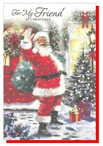 "Christmas Card Friend - Santa Tree - SIMON ELVIN 7.5""x5.25""    27460"