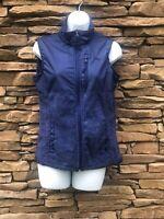 Women's Winter Vest Navy Blue Size Small Zip Up Front Pockets Fleece Lined