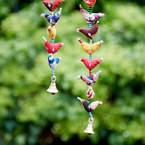Fair Trade 10-Bird Bell Tota Traditional Indian Hanging Decoration, In/Outdoor
