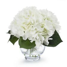 Enova Home Silk Hydrangea Flower Arrangement in Clear Glass Vase With Faux Water
