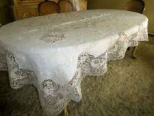 VINTAGE HAND EMBROIDERY NEEDLE LACE BIRDS & FLOWERS LINEN TABLECLOTH