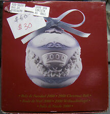 2000 Lladro Christmas Ball Ornament Matte New Old Stock Mint In Box 01016699