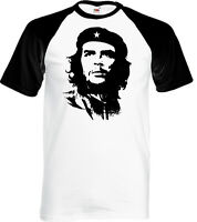 Che Guevara Face Silhouette - Mens Iconic Baseball T-Shirt Freedom Fighter Cuba
