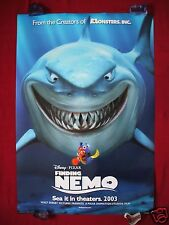 FINDING NEMO * 2003 ORIGINAL MOVIE POSTER 1SH D/S ADVANCE JAWS SHARK BRUCE NM-M