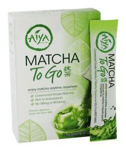 Aiya Matcha To Go Ceremonial Grade - 10 Packets Per Box (1 Box) Free Shipping.
