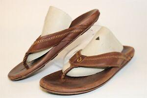 OluKai Mens Size 11 44 Hiapo Leather Flip Flop Sandals Shoes 10101-2222