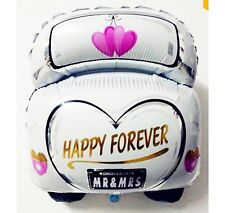 """Just Married Happy Forever wedding car foil balloon 60cm x 47cm or 24"""" x 19"""""""