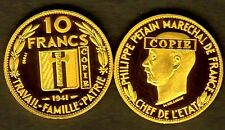 ★★ COPIE DE L'ESSAI DE DELANNOY EN PLAQUé OR DE LA 10 FRANCS 1941 PETAIN ★★