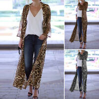Womens Summer Holiday Beach Leopard Coat Cover Up Cardigan Top Maxi Long Kimono