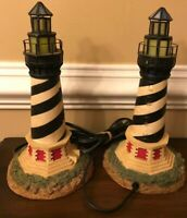 """Light House Electric Table Lamp Set 12"""" Tested Nautical Home Decor Collectible"""