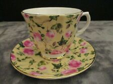 STAFFORDSHIRE ENGLAND ROYALE GARDEN CHINTZ COLLECTION YELLOW FOOTED CUP & SAUCER