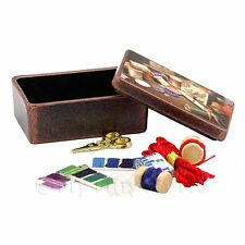 Dolls House Miniature Metal Sewing Box With 10 Accessories