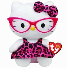 "hello kitty 6"" collectible ty beanie baby pink nerd leopard print collectible"