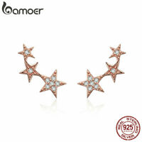 BAMOER Solid S925 Sterling silver Gold Stud Earrings With CZ For Women Jewelry