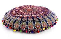 Grand Rond Bleu Mandala Sol Décoratif Coussin Oreiller Sièges Housse Bohème