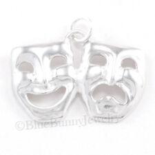 COMEDY TRAGEDY Masks bracelet charm pendant 925 Sterling Silver Theater Drama