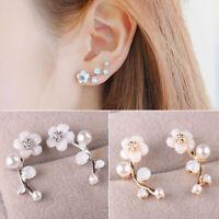 Women 925 Sterling Silver Pearl Flower Large Ear Climber Crawler Cuff Earrings