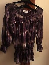 Wallis: Petite blouse / top, S, purple multi silver striped floaty top, ex. cond