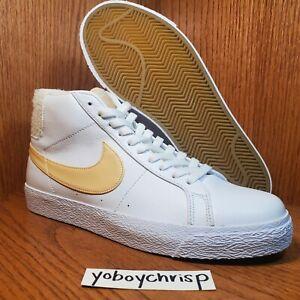 🔥 Nike SB Zoom Blazer Mid PRM Size 10 White Gold CJ6983-102 New Retail $140! 🔥