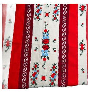 Vintage Tight Knit Cross Stitch Blanket Throw Red Cream Scalloped 43 x 59