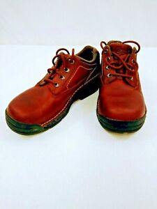 HyTest Safety Footwear Brown Leather Steel Toe Lace Up  Work Shoes M Sz8 W Sz10