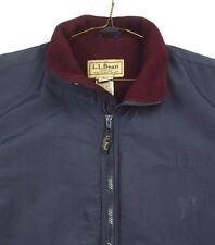 LL Bean Blue Nylon Coat Zip Front Jacket Fleece Lined XL VGUC OHK 18