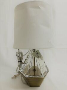 """PROJECT 62 13.75"""" Tall Table Lamp NWT/D Acrylic Prism Clear w/ Brass Finish"""