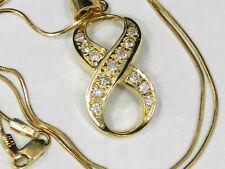 14k Solid Gold 3/4ctw Round Brilliant Diamond Infinity Pendant