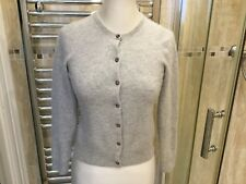 "JOHN LEWIS Womens 100% Cashmere Light Grey Cardigan Size 32""- 34"" Chest"