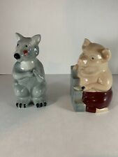 Big Bad Wolf & House of Brick Wade Whimsical Pottery Figurines 1995 Set of 2
