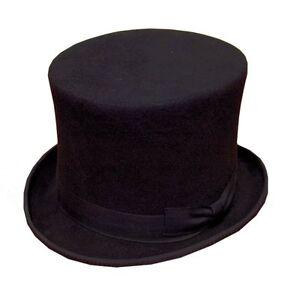 Black Top Hat 100% Wool Felt 5 Sizes Fancy Dress Ascot Races Costume Wedding