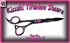 "Kissaki Left Handed 5.5"" Haniku L Black Titanium Hair Cutting Scissors / Shears"