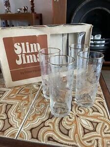 Vintage Ravenhead Slim Jims Hi Ball Etched Glasses X 4 Boxed 1960s