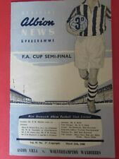 More details for fa cup semi final 1960 aston villa v wolverhampton wanderers (wolves) @ wba