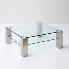 Couchtisch Asta Beistelltisch Wohnzimmertisch Tisch Klarglas Metall 90x90 cm