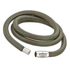 Endless Triple Grey Leather Bracelet w/Stainless Steel Lock(8.0 inch), 12103-60